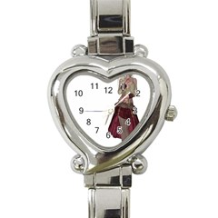 Steampunk Style Girl Wearing Red Dress Heart Italian Charm Watch  by goldenjackal
