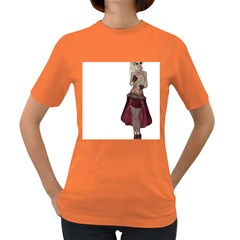 Steampunk Style Girl Wearing Red Dress Women s T Shirt (colored) by goldenjackal