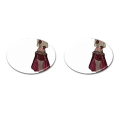 Steampunk Style Girl Wearing Red Dress Cufflinks (oval) by goldenjackal