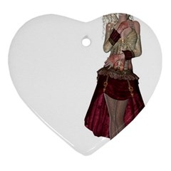 Steampunk Style Girl Wearing Red Dress Heart Ornament (two Sides) by goldenjackal