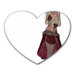 Steampunk Style Girl Wearing Red Dress Mouse Pad (heart) by goldenjackal