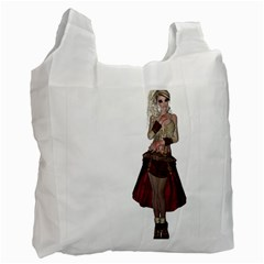 Steampunk Style Girl Wearing Red Dress Recycle Bag (two Sides) by goldenjackal