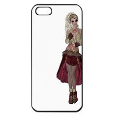 Steampunk Style Girl Wearing Red Dress Apple Iphone 5 Seamless Case (black) by goldenjackal