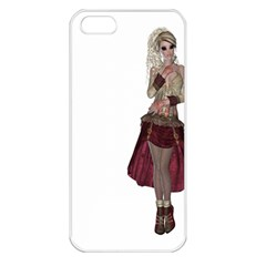 Steampunk Style Girl Wearing Red Dress Apple Iphone 5 Seamless Case (white) by goldenjackal