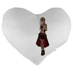 Steampunk Style Girl Wearing Red Dress 19  Premium Heart Shape Cushion by goldenjackal