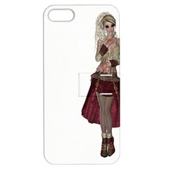 Steampunk Style Girl Wearing Red Dress Apple Iphone 5 Hardshell Case With Stand by goldenjackal