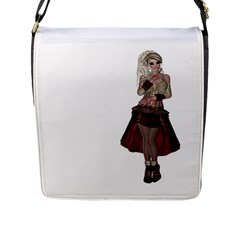 Steampunk Style Girl Wearing Red Dress Flap Closure Messenger Bag (large) by goldenjackal
