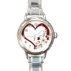 Red Love Heart With Flowers Romantic Valentine Birthday Round Italian Charm Watch by goldenjackal