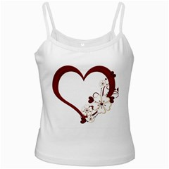 Red Love Heart With Flowers Romantic Valentine Birthday White Spaghetti Tank by goldenjackal