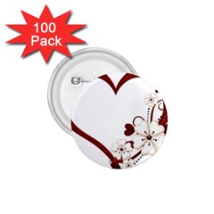 Red Love Heart With Flowers Romantic Valentine Birthday 1 75  Button (100 Pack) by goldenjackal
