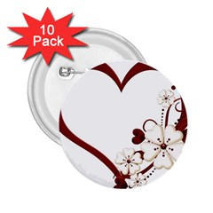 Red Love Heart With Flowers Romantic Valentine Birthday 2 25  Button (10 Pack) by goldenjackal