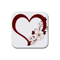 Red Love Heart With Flowers Romantic Valentine Birthday Drink Coasters 4 Pack (Square) by goldenjackal