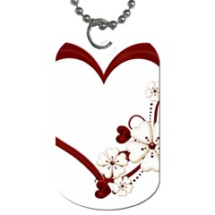 Red Love Heart With Flowers Romantic Valentine Birthday Dog Tag (two Sided)  by goldenjackal