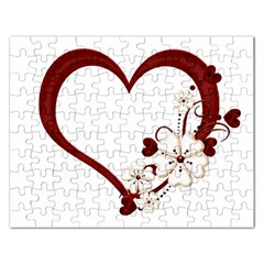 Red Love Heart With Flowers Romantic Valentine Birthday Jigsaw Puzzle (rectangle) by goldenjackal