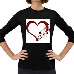 Red Love Heart With Flowers Romantic Valentine Birthday Women s Long Sleeve T Shirt (dark Colored) by goldenjackal