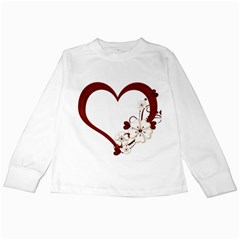 Red Love Heart With Flowers Romantic Valentine Birthday Kids Long Sleeve T Shirt by goldenjackal