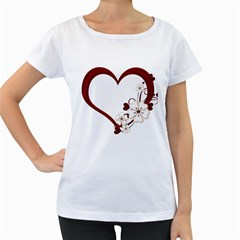 Red Love Heart With Flowers Romantic Valentine Birthday Women s Maternity T Shirt (white) by goldenjackal