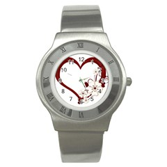 Red Love Heart With Flowers Romantic Valentine Birthday Stainless Steel Watch (slim) by goldenjackal