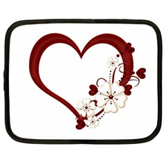 Red Love Heart With Flowers Romantic Valentine Birthday Netbook Sleeve (large) by goldenjackal