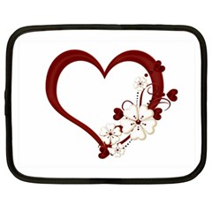 Red Love Heart With Flowers Romantic Valentine Birthday Netbook Sleeve (xxl) by goldenjackal