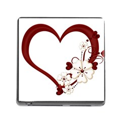 Red Love Heart With Flowers Romantic Valentine Birthday Memory Card Reader With Storage (square) by goldenjackal