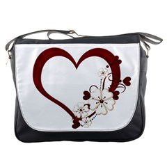 Red Love Heart With Flowers Romantic Valentine Birthday Messenger Bag by goldenjackal