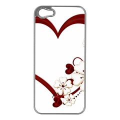 Red Love Heart With Flowers Romantic Valentine Birthday Apple Iphone 5 Case (silver) by goldenjackal