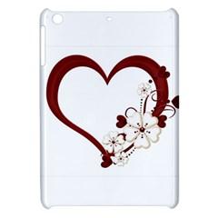 Red Love Heart With Flowers Romantic Valentine Birthday Apple Ipad Mini Hardshell Case by goldenjackal