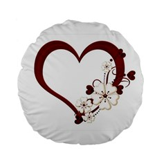 Red Love Heart With Flowers Romantic Valentine Birthday 15  Premium Round Cushion  by goldenjackal