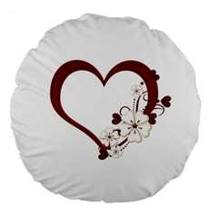 Red Love Heart With Flowers Romantic Valentine Birthday 18  Premium Round Cushion  by goldenjackal