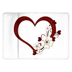 Red Love Heart With Flowers Romantic Valentine Birthday Samsung Galaxy Tab 10 1  P7500 Flip Case by goldenjackal