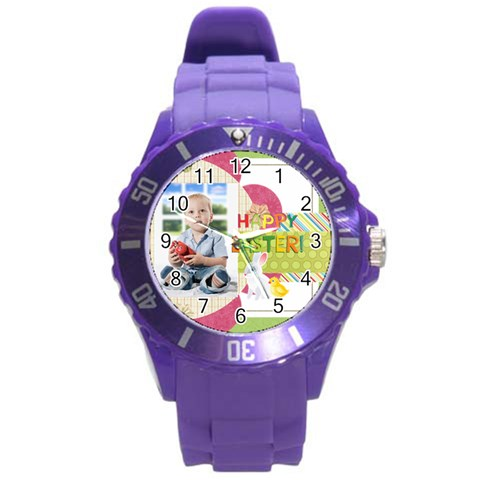 Easter By Easter   Round Plastic Sport Watch (l)   D220rdp692xq   Www Artscow Com Front