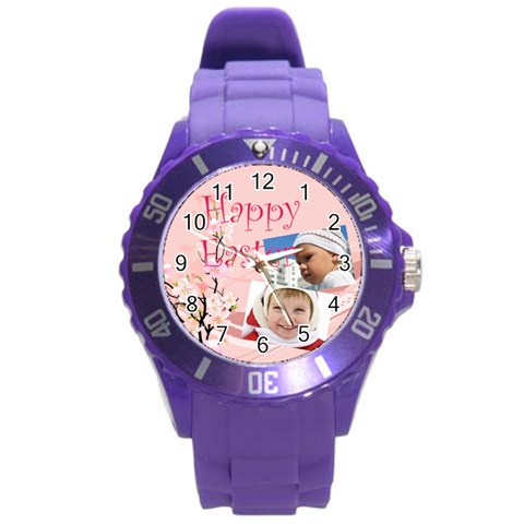 Easter By Easter   Round Plastic Sport Watch (l)   71em2jh4mshx   Www Artscow Com Front