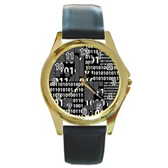 Beauty Of Binary Round Leather Watch (gold Rim)  by StuffOrSomething
