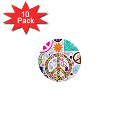 Peace Collage 1  Mini Button Magnet (10 Pack) by StuffOrSomething