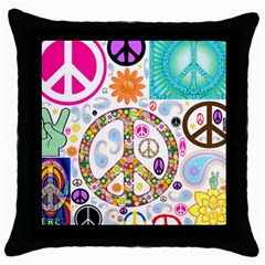 Peace Collage Black Throw Pillow Case by StuffOrSomething
