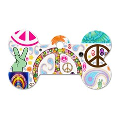 Peace Collage Dog Tag Bone (one Sided) by StuffOrSomething