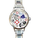Nautical Collage Round Italian Charm Watch