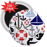 Nautical Collage 3  Button Magnet (100 pack)