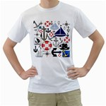 Nautical Collage Men s Two-sided T-shirt (White)