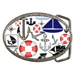 Nautical Collage Belt Buckle (Oval)