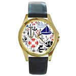 Nautical Collage Round Leather Watch (Gold Rim)