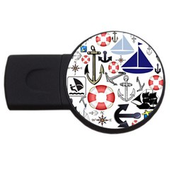 Nautical Collage 4GB USB Flash Drive (Round) by StuffOrSomething