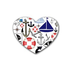 Nautical Collage Drink Coasters 4 Pack (heart)  by StuffOrSomething