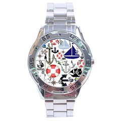 Nautical Collage Stainless Steel Watch by StuffOrSomething