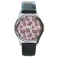 Paisley In Pink Round Leather Watch (silver Rim) by StuffOrSomething