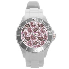 Paisley In Pink Plastic Sport Watch (large) by StuffOrSomething