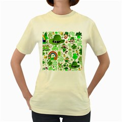 St Patrick s Day Collage Women s T Shirt (yellow) by StuffOrSomething