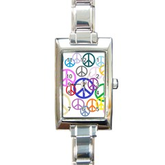 Peace Sign Collage Png Rectangular Italian Charm Watch by StuffOrSomething
