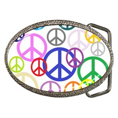 Peace Sign Collage Png Belt Buckle (oval)